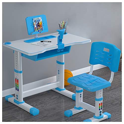 EMYU - Juego de sillas de escritorio para niños, altura ajustable, con amplio cajón de almacenamiento y luz LED para protección ocular, multifuncional para niños, estudiantes.