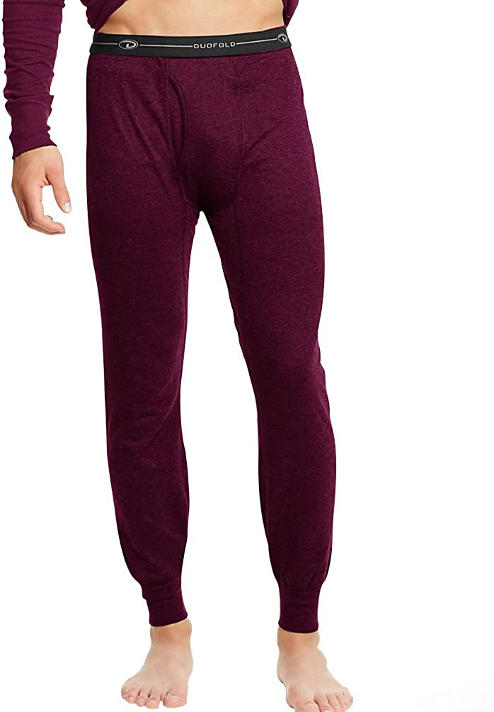 Duofold KMW2 Men's Mid-Weight Wicking Thermal Pant-Bordeaux Red