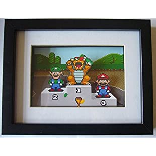 SNES Super Mario Kart Trophy Podium 3D Diorama Shadow Box Art:Maskedking