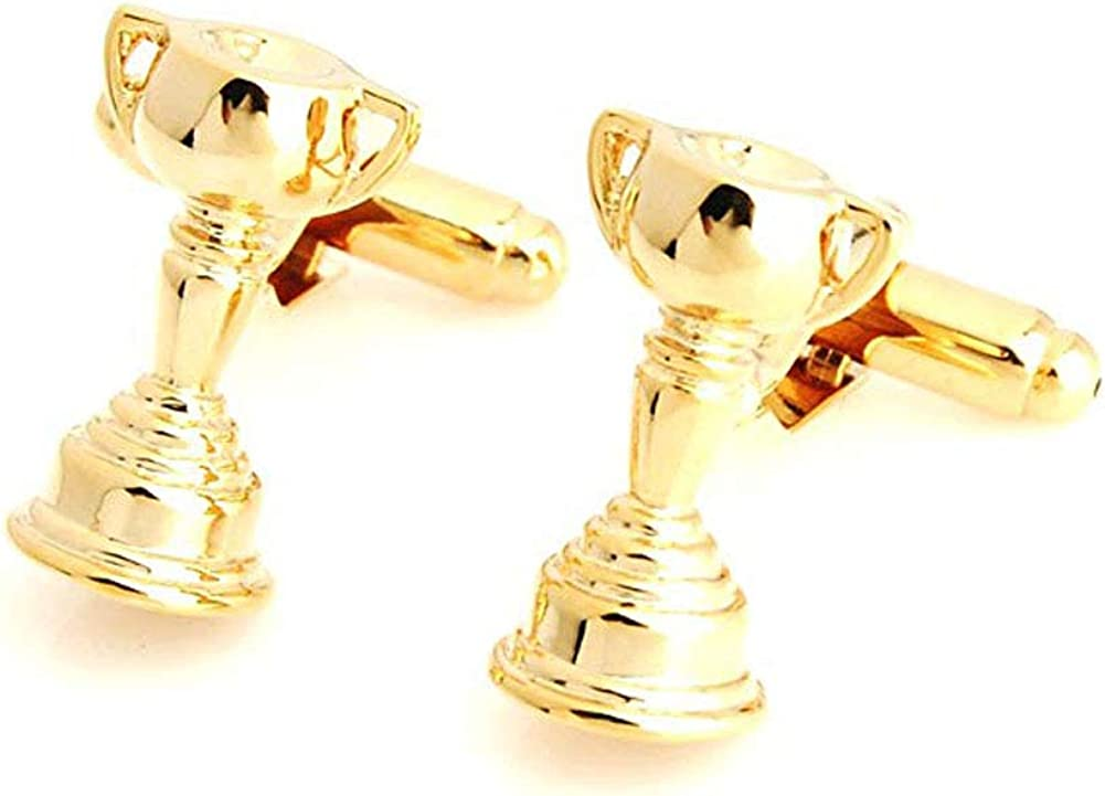 Men's Executive Cufflinks Gold Tone Trophy Cup We are the Champions Winners Trophy Cuff Links