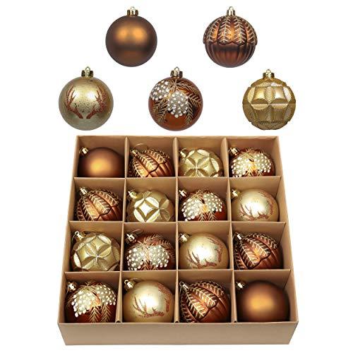 Valery Madelyn Weihnachtskugeln 16 TLG. 8cm Plastik Christbaumkugeln Set Christbaumschmuck für Weihnachtsbaum Dekoration Weihnachtsdeko Hausdeko Bronze golden Wald Thema