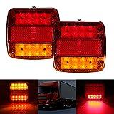 Wrighteu 2PCS Luces Traseras de Remolque Luz Piloto de Señal de Freno Cola Indicador Rojo Lámpara de Placa de Matrícula para Caravana Coche Camión Ambar 20 LED 12V