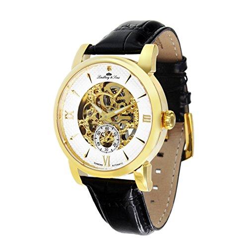 Lindberg and Sons Herren Automatikuhr mit einem echten Diamanten und Leder Armband Schwarz Skelettuhr Analog Männeruhr Herrenuhr SK14H048