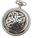 Grabado Incluido–con símbolo celta peltre Reloj de bolsillo con mecanismo de cuarzo diseño 68
