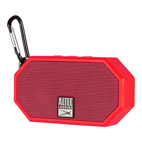 Altec Lansing Portable Bluetooth Speaker – IP67 Waterproof Outdoor Speaker with 30-Foot Range and 6-Hour Battery – Floating Shockproof Wireless Speaker for Beach, Shower, Home and Car (Red)