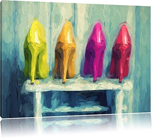 sexy High Heels auf Hocker Format: 60x40 auf Leinwand, XXL riesige Bilder fertig gerahmt mit Keilrahmen, Kunstdruck auf Wandbild mit Rahmen, günstiger als Gemälde oder Ölbild, kein Poster oder Plakat