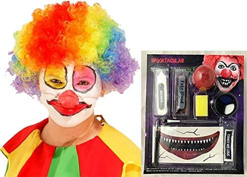 FashioN HuB Kit de maquillaje unisex de payaso asesino para hombre, juego de peluca afro, accesorio de fiesta, talla nica (2 unidades)