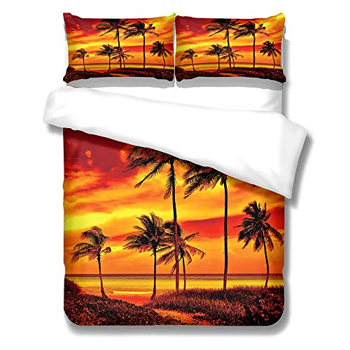 GloEnjoy 3D Digital Printing Three Piece Bedding Set with 2 Pillowcases, Quilt Cover with Zipper Closure for Bedding Decro, Ultra Soft Microfiber - 3D Coconut tree at dusk,Single Size 135 x 200cm