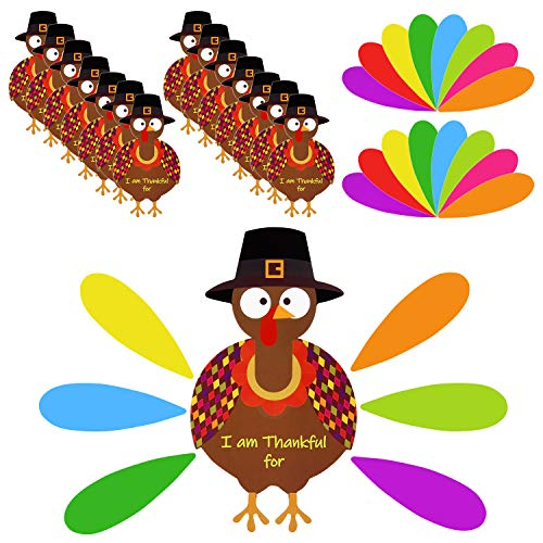 FEPITO 105 PCS Thanksgiving Pavo Arte Equipo Bricolaje Turquía con Plumas de Colores y Colas de Puntos Pegatinas acción Gracias para la Fiesta Acción Gracias Actividades Escolares Suministros