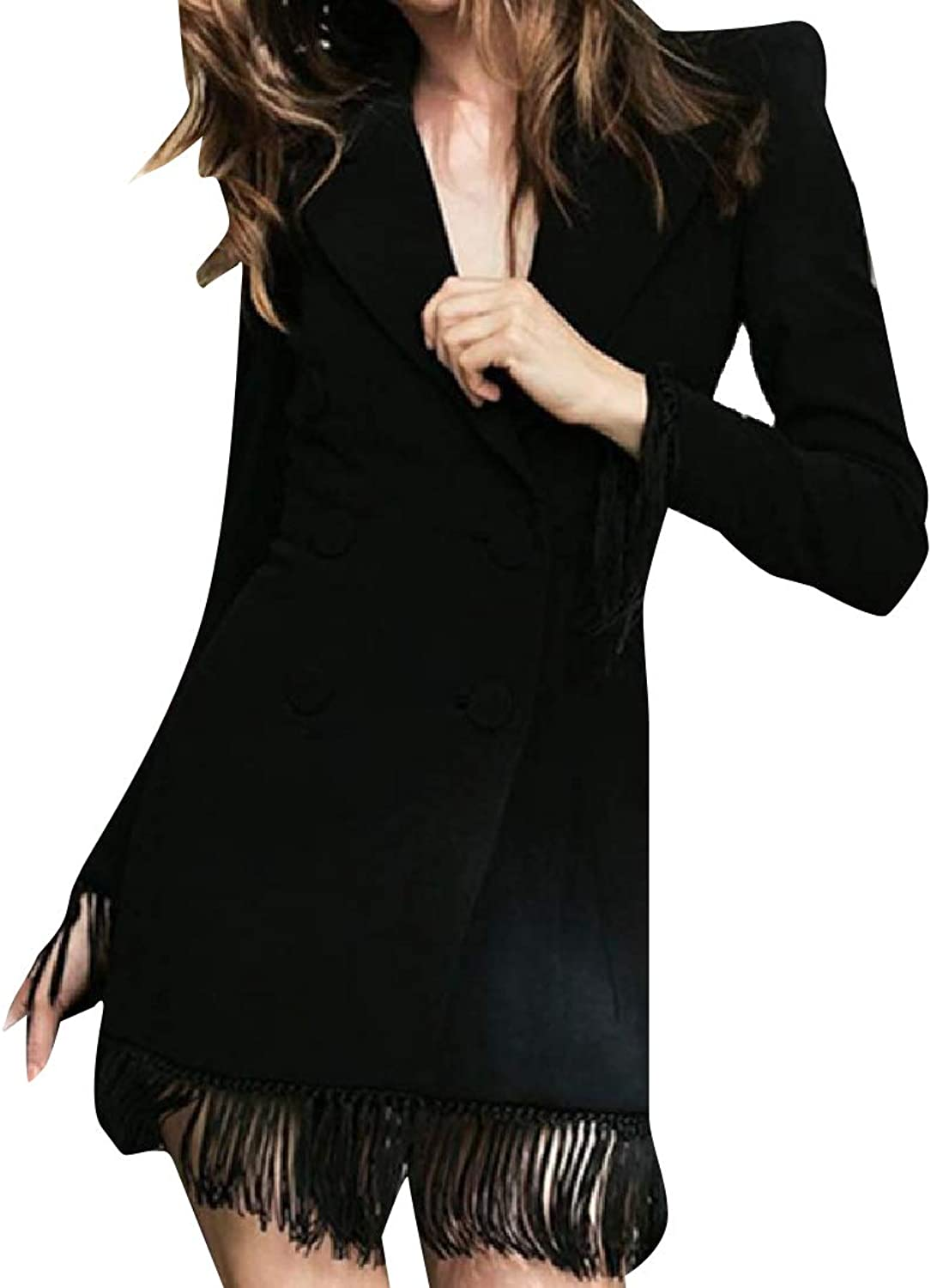 TaoNice Women Classic Fit Tassel Edge WrapFront Groom Tuxedo Suit