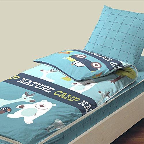 Bleu Câlin Caradou RARC90 Juego de sábanas y Fundas de Almohada, algodón, Azul Glaciar (Nature Camp), Sencillo, 90x190 cm