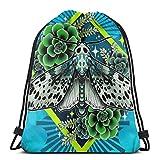 Yuanmeiju Leopard Moth Shoulder Bolsa con cordón Backpack String Bags School Rucksack Gym Sport Bag Lightweight