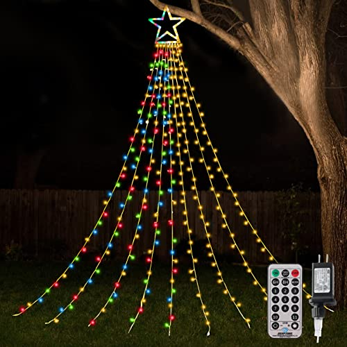 ZTX Christmas Decorations Outdoor Star Lights,11Ft Christmas Tree Toppers Lihgts with Remote,11 Lighting Modes Waterfall Christmas String Lights for Christmas,Halloween,Wedding,Party(Color Changing)