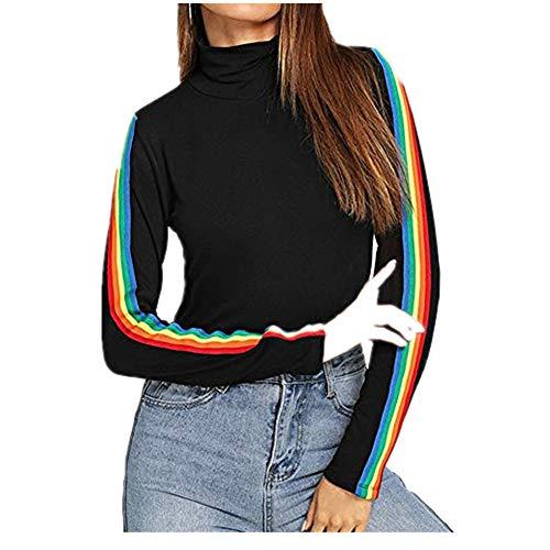 TWIFER 2020 Langarm Pullover Rainbow Patchwork O Hals Beiläufige Sweater