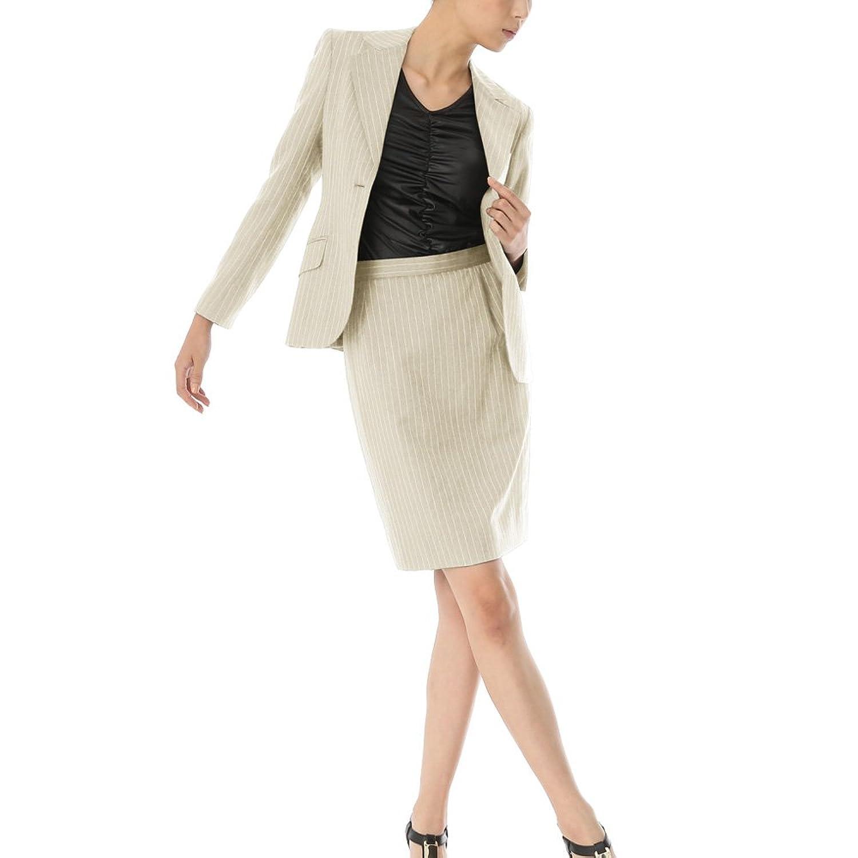 スカートスーツ リクルートスーツ レディススーツ ベージュストライプ 就活 13号 上下別サイズ対応スーツ