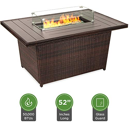 Review Best Choice Products 52in Outdoor Wicker Propane Fire Pit Table 50,000 BTU w/Glass Wind Guard...