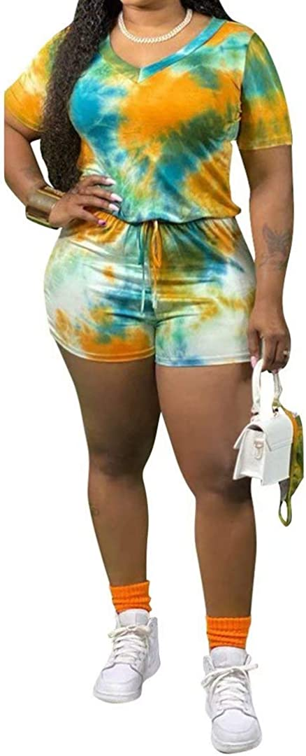 Fashionable Women's Plus Size Summer Solid Purchase Loose Casual Jumpsuit Sleev Short