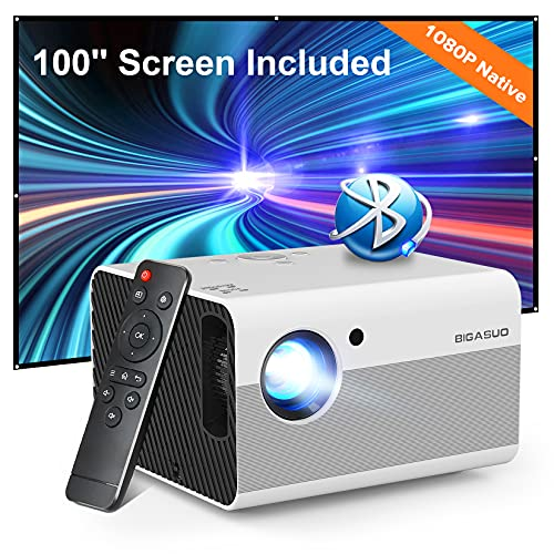 1080P HD Bluetooth Projector , BIGASUO Home Movie Projector with Screen, 4K...