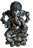 6' Lord Ganesh Statue/Ganesha Statue in Elegant Matt Black and a Touch of Brushed Bronze Finish. Premium Statue Made of Marble Powder.