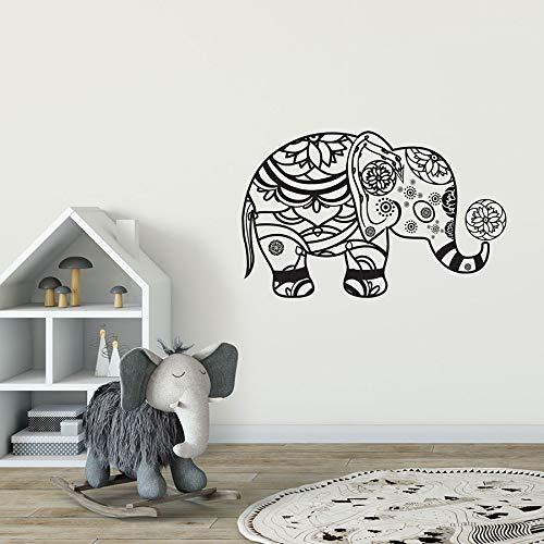 ASFGA Indischer Elefant Wandtattoos Boho Bohemian Vinyl Aufkleber Buddhistische Tiere Tiere Schlafzimmer Wohnzimmer Dekoration abnehmbare Kunst Kinderzimmer Geschenk 57x36cm