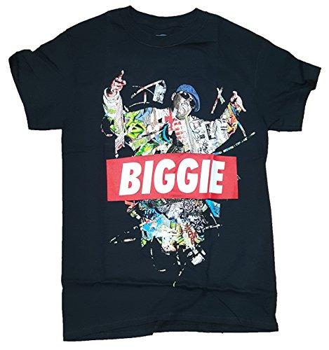 Fashion Notorious B.I.G. Biggie Collage Black Graphic T-Shirt - Large