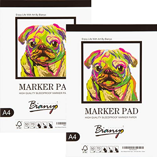 Bianyo Bleedproof Marker Paper Pad for Marker, Pencil, Pen, 70G(18LB), A4(8.27X11.69inch), 50 Sheets/Pad, Pack of 2 Pads, Fold-Over, White