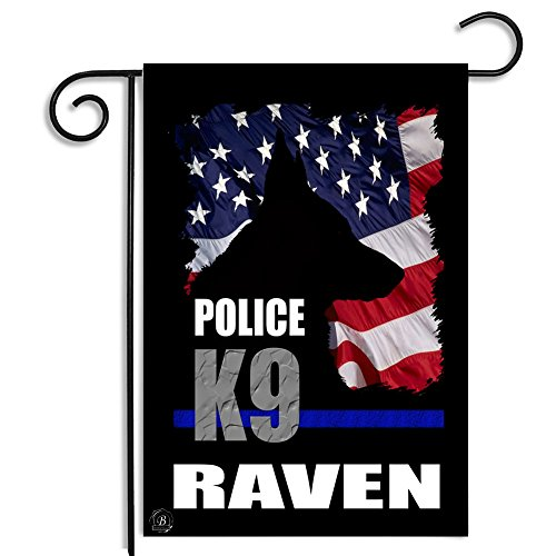 Brotherhood American Flag Thin Blue Line Personalized Police K9 Name Apartment or Garden Flag
