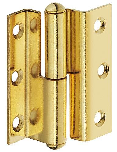 Gedotec Möbel-Scharnier Messing Zimmertür-Scharnier gekröpft Türband zum Schrauben - H1919 | Aufschraubscharnier Länge 50 mm | Kröpfung D 7,5 mm | Anschlag: Links | 1 Stück - Aufschraubband für Türen