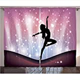 DGTJSEVEN Cortinas contemporáneas Silueta de Bailarina actuando sobre Fondo Abstracto Danza mágica Bellas Artes Sala de Estar Dormitorio Ventana 280x300cm