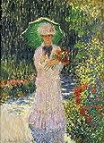 AMANUO Monet Impresiones Pinturas Famosas sobre Lienzo Humanas 45X60 cm Cuadros Enrollada - Camille con Sombrilla Verde 1876