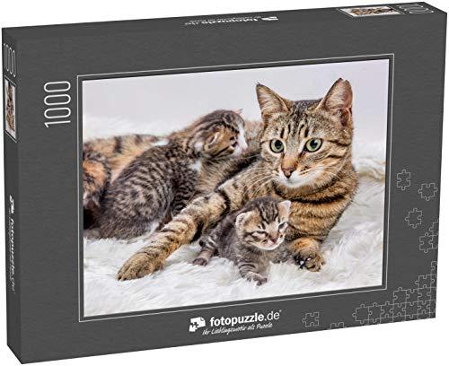 Puzzle 1000 Teile Mama (Mutter) Katze und Baby Katze (Kätzchen) - Klassische Puzzle, 1000/200/2000 Teile, in edler Motiv-Schachtel, Fotopuzzle-Kollektion 'Tiere'