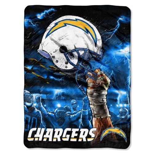 NFL San Diego Chargers 60-Inch-by-80-Inch Plush Rachel Blanket, Sky Helmet Design