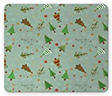 Ambesonne Christmas Mouse Pad, Pattern of Different Christmas Treesnd Holiday Themed Snowflake Background, Rectangle Non-Slip Rubber Mousepad, Standard Size, Multicolor