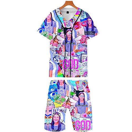NCTCITY Nios Adulto T-Shirts + Pantalones Cortos de Playa Set Charli D'Amelio Impresin 3D Camiseta Botn Bisbol Jersey Rebeca Dos Piezas