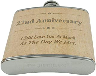 22nd Anniversary Hip Flask 22 Year Anniversary Gift For Him