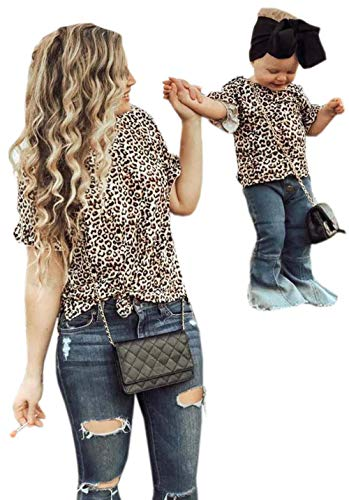Mommy and Me Clothes Leopard Print Short Bell Sleeve Blouse Top Family Matching Round Neck Casual T-Shirt Top(Leopard,Mom/L)