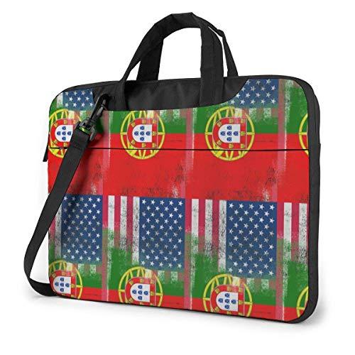 15.6″Lightweight Laptop Notebook Shoulder Backpack Bag Portuguese US Flag Waterproof PC Briefcase Messenger with Strap