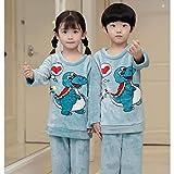 Children's Flannel Pajamas Kids Cartoon Winter Warm Pajamas Set For Boys and Girls Coral Fleece Soft Pajamas Pajamas Clothes Set