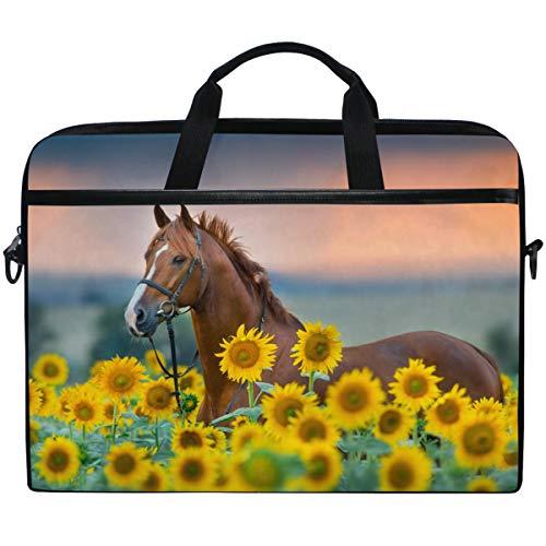 Kaariok Horse Sunflower Laptop Shoulder Bag 13-14.5 Inch Sleeve Messenger Case