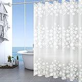 FGen Tenda Doccia Antimuffa 200 * 200CM, Tenda Vasca da Bagno Impermeabile, Tenda Vasca da Bagno con 12 Ganci, Shower Curtain, Schermo Privacy per la Casa e l'hotel (White flower)