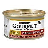 Purina Gourmet Gold Umido Gatto Dadini in Salsa con Anatra in Salsa con Olive, 24 Lattine da 85 g Ciascuna, Confezione da 24 x 85 g