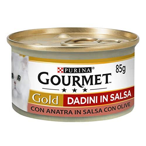 Purina Gourmet Gold Feuchtigkeit Katzenwürfel in Sauce mit Ente in Sauce mit Olive, 24 Dosen à 85 g, 24 x 85 g