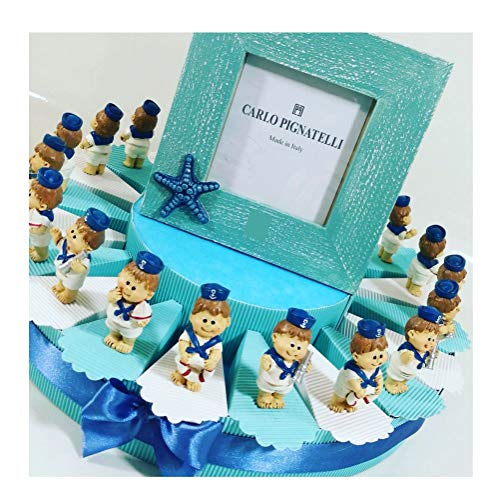 Sindy Bomboniere - Tarta bombonera para Bautizo de niño con temática de mar con imanes/imán de Resina de 5 cm Aprox. Confetti incluidos, Neutro