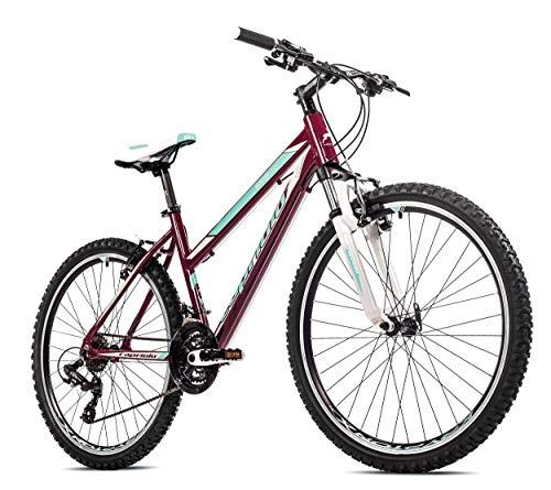 breluxx® 26 Zoll Damen Mountainbike FS Aluminium Monitor Lady, weinrot türkis, 21 Gang Shimano - Made in EU