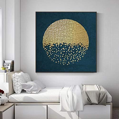 N/A Dekorative Drucke aus Leinwand Gold Moon Abstract Pictures Poster Leinwanddrucke Wandmalerei für Wohnzimmer dekorative Gemälde-60x60cm