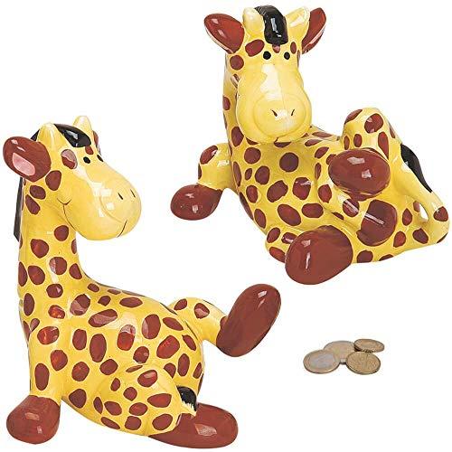 matches21 Spardose Sparbüchse Giraffe - Sparschwein aus Keramik - gelb/braun - 1 STK. in Geschenkbox 2 Sorten je 18 cm
