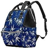 Momia Bolso cambiador Mochila de bambú con hojas de círculo multifunción impermeable pañal mochila de viaje para el cuidado del bebé
