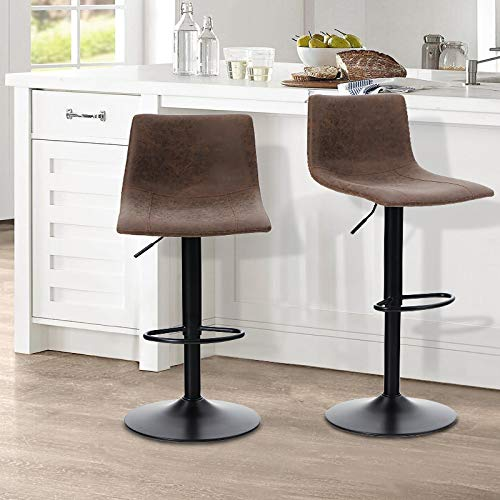 ALPHA HOME Bar Stools Counter Height Adjustable Bar Chair 360 Degree Swivel Seat Modern Square Pu Leather Kitchen Counter Stools Dining Chairs Set of 2,350 lbs Capacity.Brown