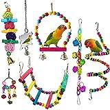 WADSA 7 PCS Pájaro Pájaro Juguetes Loro Pájaro Pájaro Masticar Tiempo Sube Toys Juguetes Pájaros Juguetes Juguetes Cuerda Swing para Conures, Periquitos, Cockatiels, Aves de Amor