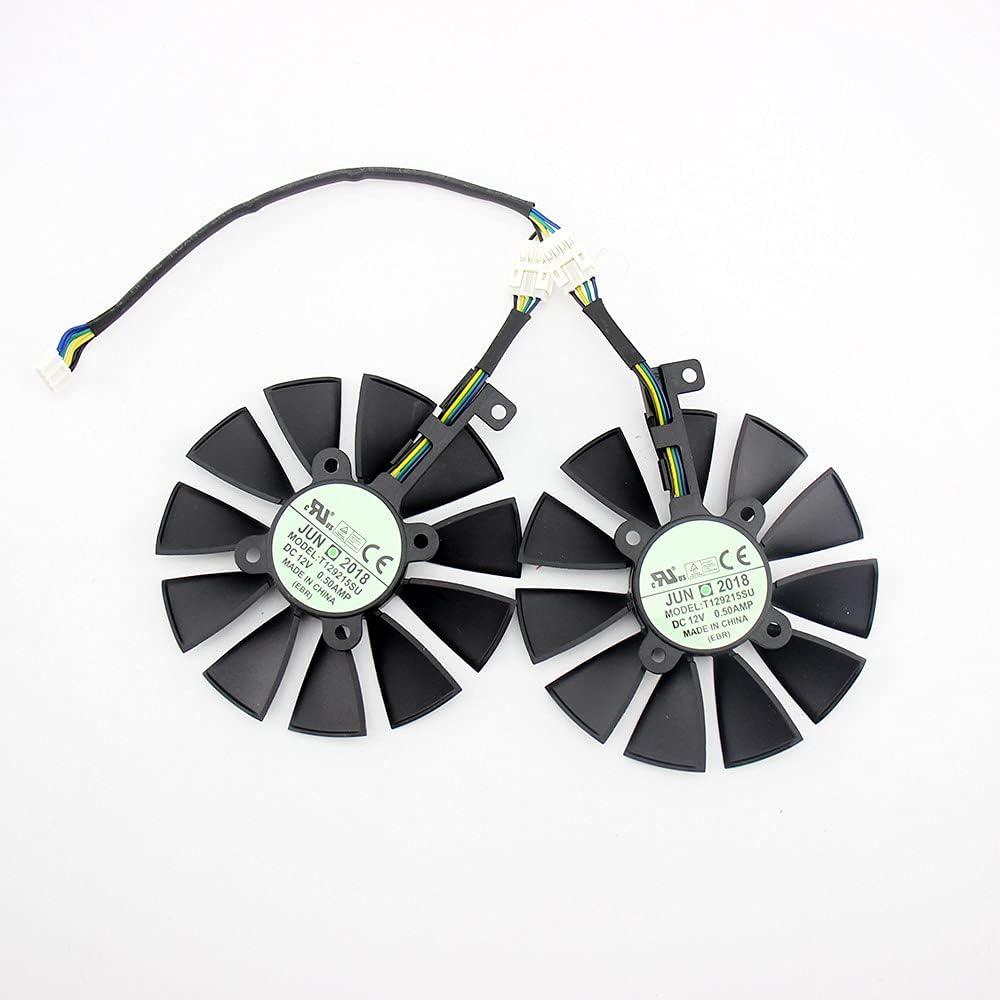 Ventilador del Enfriador de 87 mm para ASUS GTX1060 1070 TI RX 470 570 580 Tarjeta de gráficos T129215SU PLD09210S12HH 28mm Fans de enfriamiento (Blade Color : 2PCS)